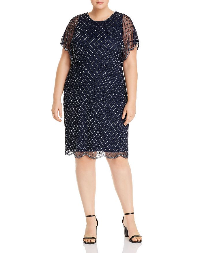 Adrianna Papell Plus - Beaded Dolman-Sleeve Dress