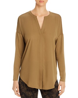 Lyssé - Long-Sleeve Mixed-Media Top