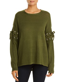 Alison Andrews - Lace-Up Sleeve Sweater