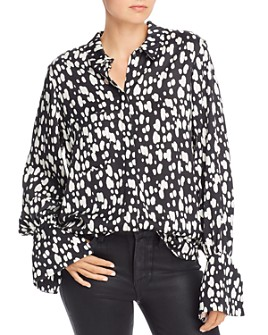 No Frills by Mother of Pearl - Snap-Front Dot Blouse with Pearl Accents