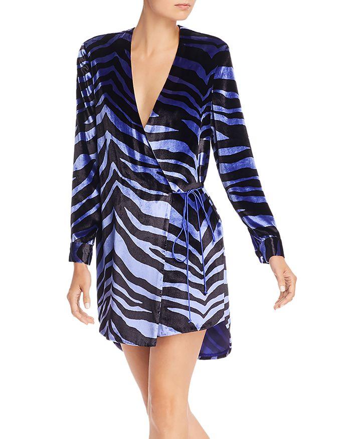 Michelle Mason - Zebra-Printed Velvet Wrap Dress
