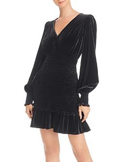 AQUA - Bishop-Sleeve Smocked Velvet Dress - 100% Exclusive
