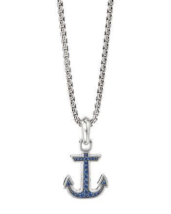David Yurman - Sterling Silver Maritime Anchor Amulet with Blue Sapphires