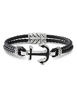 David Yurman - Sterling Silver & Leather Maritime Anchor Station Bracelet with Black Onyx