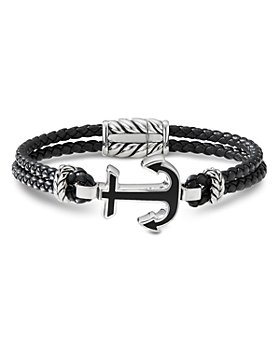 David Yurman - Sterling Silver & Leather Maritime Anchor Station Bracelet with Black Onyx