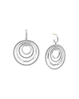 David Yurman - Sterling Silver Stax Large Drop Earrings with Diamonds