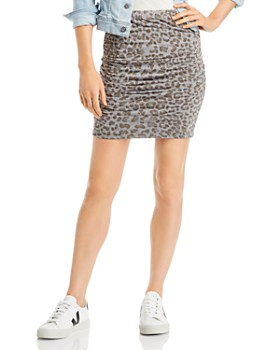 Sundry - Ruched Leopard Print Skirt