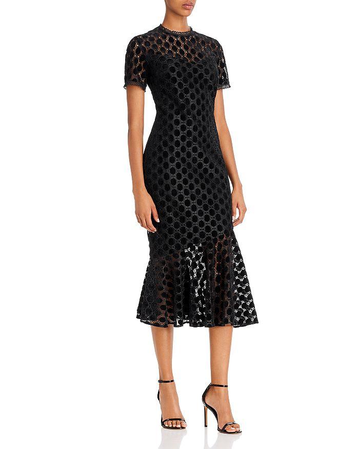 Shoshanna - Morgan Velvet & Lace Illusion Midi Dress