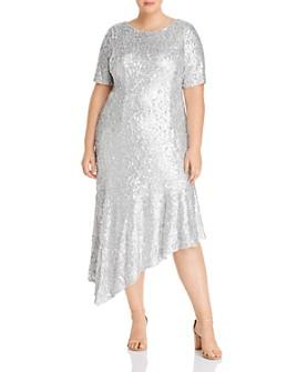 Adrianna Papell Plus - Sequined Asymmetric-Hem Midi Dress