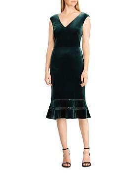Ralph Lauren - Fluted Lace Inset Velvet Dress