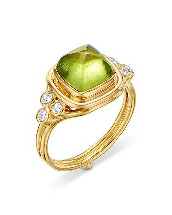 Temple St. Clair - 18K Yellow Gold High Classic Sugar Loaf Ring with Peridot & Diamonds