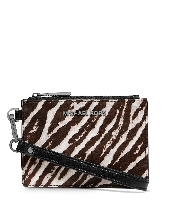 Michael Michael Kors Jet Set Small Zebra-print Coin Purse In Gunmetal Multi/gold