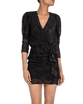 ba&sh - Puff-Sleeve Flocked Mini Dress