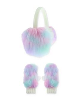 Capelli - Girls' Rainbow Faux-Fur Earmuffs & Mittens Set