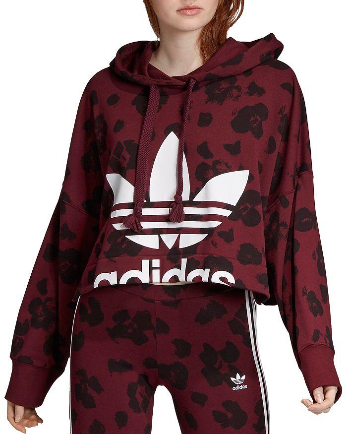 Adidas - Floral Cropped Hooded Sweatshirt