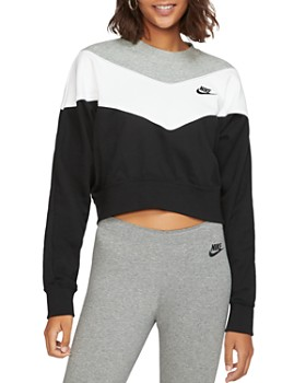 Nike - Heritage Color-Block Cropped Sweatshirt