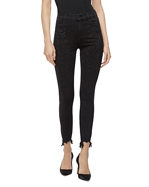 J Brand Jeans ALANA HIGH-RISE CROP JEANS IN BLACK ADORNED