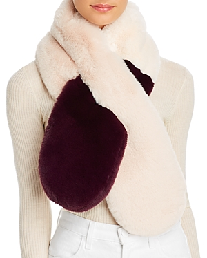 Echo Faux-Fur Two-Tone Pull-Through Scarf