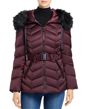 T Tahari - Leon Faux Fur-Trim Belted Puffer Coat