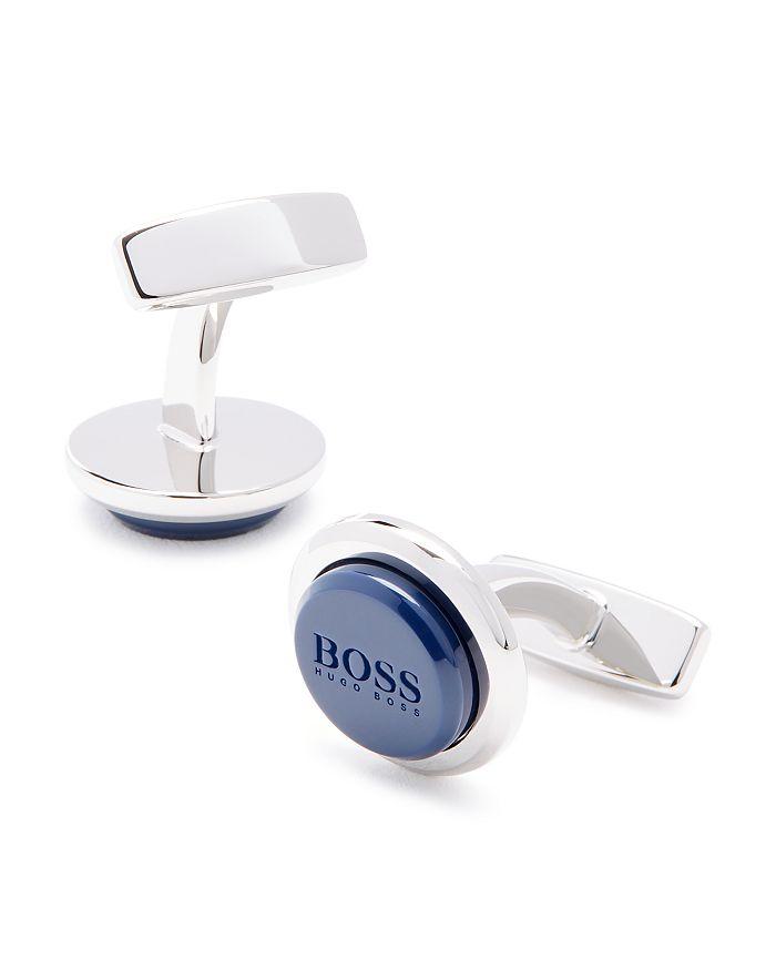 Hugo Boss Malvin Round Enamel Logo Cufflinks In Navy