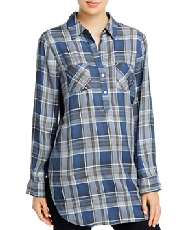 Cupio - Plaid Long-Sleeve Henley Button-Up Shirt