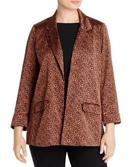 B Collection by Bobeau Curvy - Teri Leopard-Print Classic Blazer