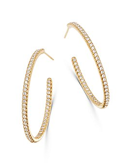 Bloomingdale's - Diamond Oval Inside Out Hoop Earrings in 14K Yellow Gold, 1.50 ct. t.w. - 100% Exclusive