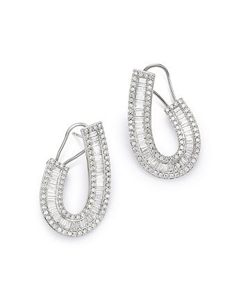 Bloomingdale's - Round & Baguette Front-to-Back Earrings in 14K White Gold, 2.50 ct. t.w. - 100% Exclusive