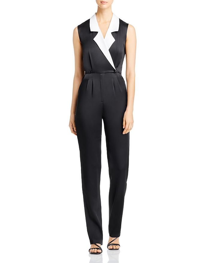 Carolina Ritzler - Narjisse Contrast-Lapel Wool-Blend Jumpsuit