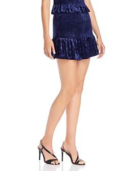 AQUA - Smocked Velvet Mini Skirt - 100% Exclusive