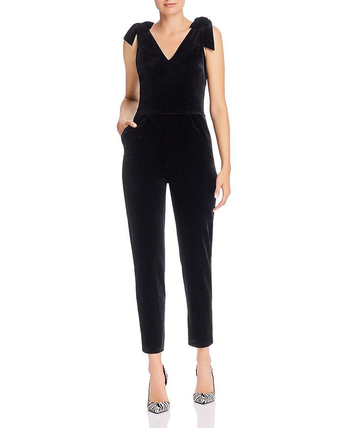 AQUA - Cropped Velvet Bow-Detail Jumpsuit - 100% Exclusive