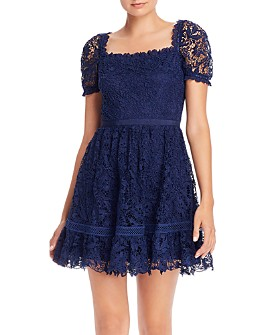 AQUA - Square Neck Lace Mini Dress - 100% Exclusive