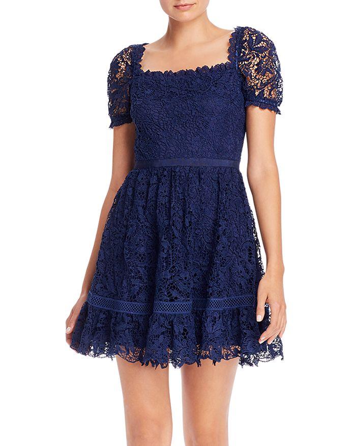AQUA - Square Neck Lace Mini Dress - 100% Exclusive