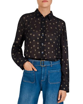 Gerard Darel - Maya Semi-Sheer Metallic Star & Moon Shirt
