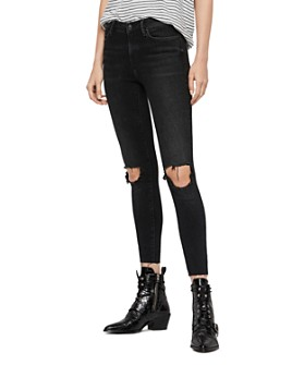 ALLSAINTS - Grace Distressed Ankle Fray Skinny Jeans in Washed Black