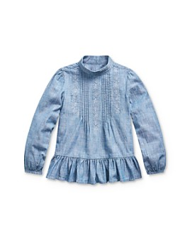 Ralph Lauren - Girls' Chambray Peplum Top - Little Kid