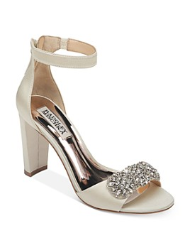 Badgley Mischka - Women's Edaline Crystal-Embellished Block Heel Sandals
