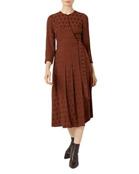 HOBBS LONDON - Hazel Pleated Jacquard Wrap Dress