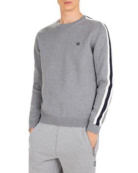 The Kooples - Stripe Shoulder Cotton & Cashmere Crewneck Sweater