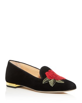 Charlotte Olympia - Women's Rose Embroidered Flats