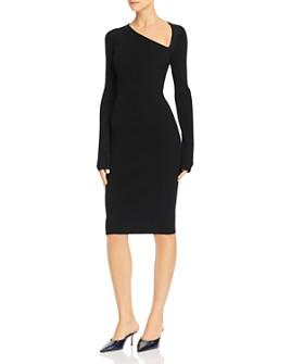 Helmut Lang - Asymmetric Ribbed Bodycon Dress