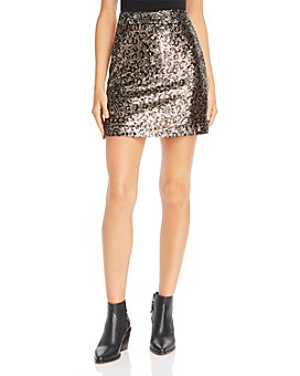 MILLY - Leopard Sequin Modern Mini Skirt