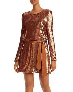 Ramy Brook Hallie Sequin Satin-Belted Mini Dress