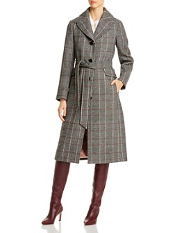 kate spade new york - Glen Plaid Belted Long Coat