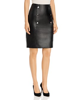 Calvin Klein - Double-Breasted Faux Leather Pencil Skirt