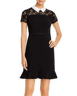 KARL LAGERFELD Paris - Collared Lace-Yoke Dress