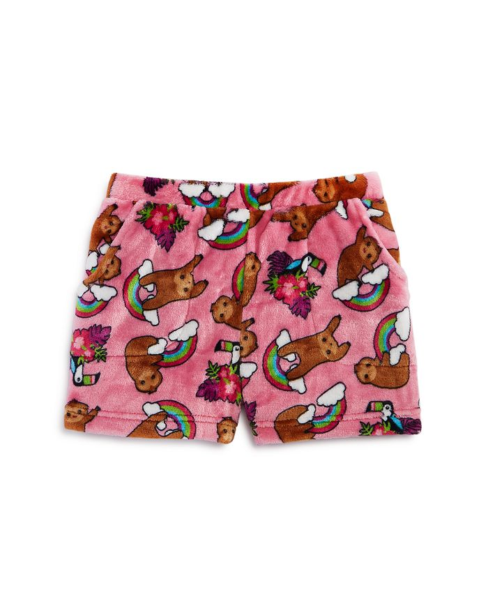Candy Pink - Girls' Sloth Print Pajama Shorts - Little Kid, Big Kid