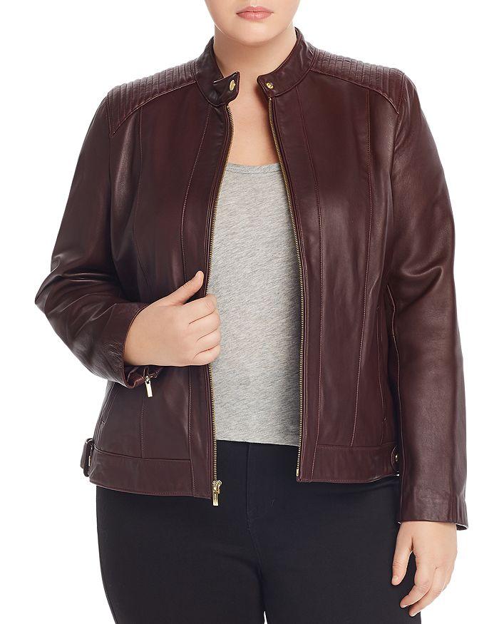 Cole Haan Plus - Leather Moto Jacket