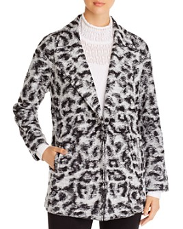 NIC and ZOE - Faux-Fur Leopard-Print Open Coat