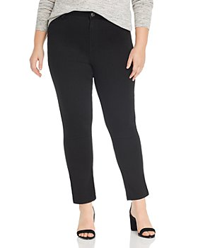 Seven7 Jeans Plus - Lia Tummyless Slim-Straight Jeans in Black Rinse